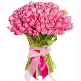 Розовые тюльпаны 101шт